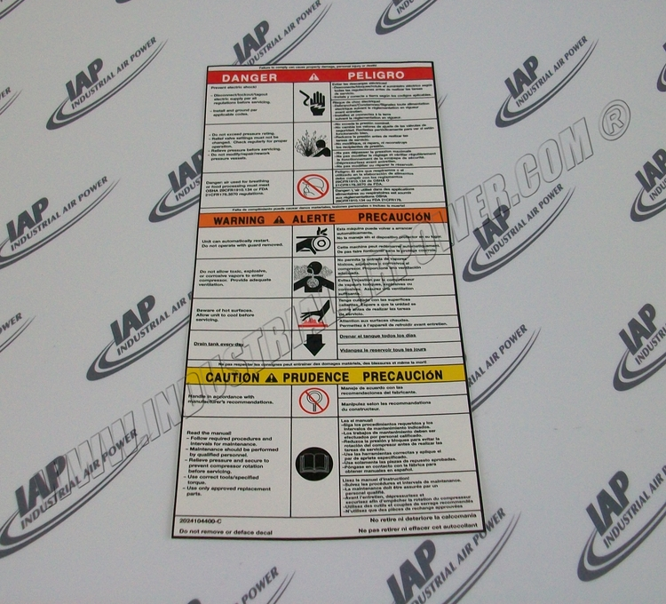 Quincy 115127 Vertical Safety Decal